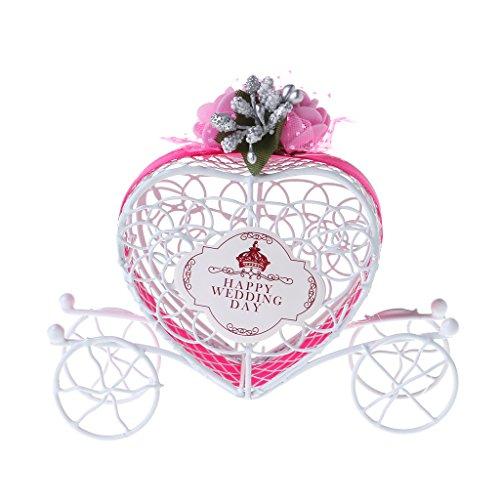 QERMULA Cinderella Carriage Chocolate Candy Box Cumpleaños Boda Fiesta Favor Decoración Regalo Caja de Dulces Rosa Fuerte