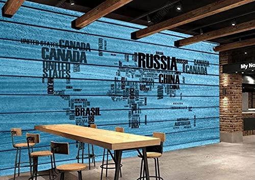 Papel Pintado Pared Dormitorio Fotomurales 3D Tablero De Madera Azul Mapa Del Mundo Del Alfabeto Inglés Papel Tapiz Fotografico 3D Murales Decorativos,350x250cm