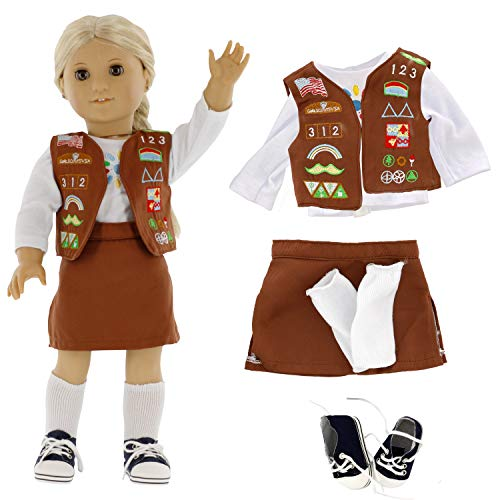 Brownie Girl Scout Doll Outfit (5 Piece Set) - Premium Handmade Clothes Fit American Girl & All 18' Dolls - Premium Uniform Apparel
