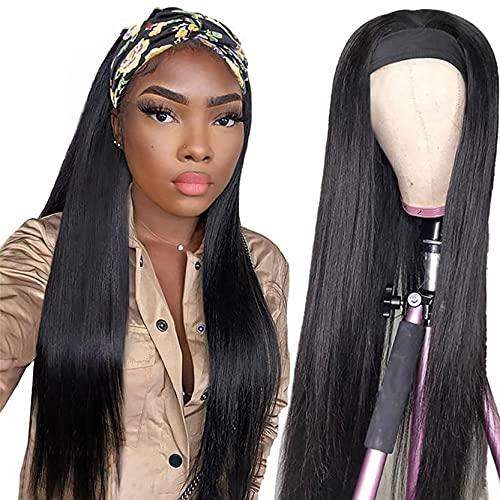 Peluca de la peluca de diadema Pelo de seda de hielo suave con cabello con cabeza, color natural. Peluca de cabeza de pelo real recto, muy adecuado para bodas, viaje 16inch