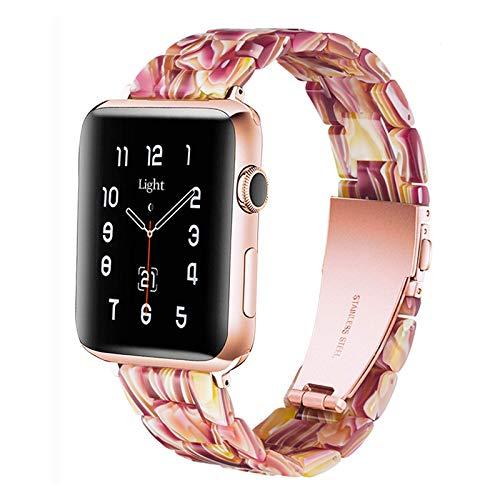 Light Compatible con Correa de Reloj Apple 42mm 44mm, Correa de Repuesto de Resina Para iWatch Series SE 6 5 4 3 2 1(Facebook Red,42mm/44mm)