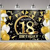 ANVAVA Party-Dekoration zum 18. Geburtstag, extra groß, Stoff, schwarz-goldfarben, Schild-Poster für den 18. Jahrestag, Foto-Kulisse für den 18. Geburtstag, Partyzubehör (183 x 100 cm)