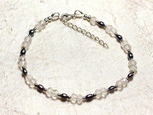 LOVEKUSH Pulsera de plata de ley 925 con diseño de esclavo suelto de 3 a 5 mm, cuarzo blanco y perlas cultivadas negras Rondelle, facetadas 7 pulgadas para hombres, mujeres, gf, bf y adultos.