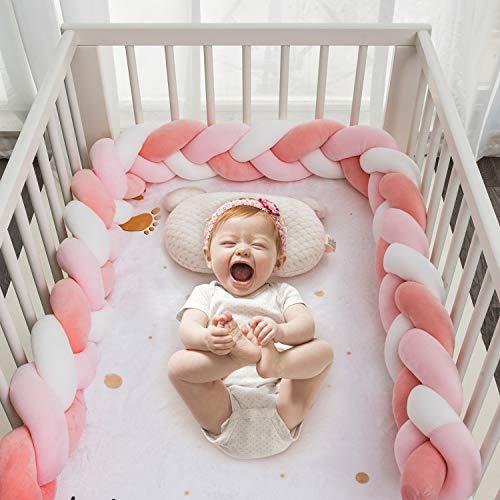 HB life Bettumrandung Babybett 2m Baby Nestchen Bettumrandung Weben Geflochtene Stoßfänger Dekoration Krippe Baby Bettumrandung Kantenschutz Kopfschutz für Krippe Kinderbett