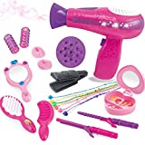 BETTINA Little Girls Beauty Hair Salon Toy Kit with Toy Hairdryer, Mirror & Other Accessories, Fashion Pretend Makeup Set for Kids