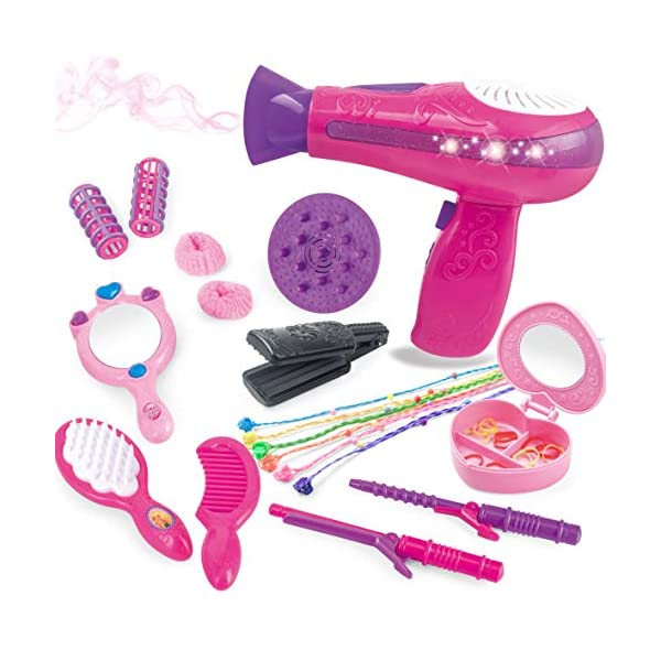 Bettina Vogue Beauty Hair Salon Fashion Pretend Play Set with Hairdryer, Mirror, Styling Accessories