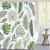 NICETOWN Duschvorhang 180x180 cm Wasserdichter Duschvorhang mit Grünen Blättern für Badewanne/Dusche Shower Curtains mit 12 Haken