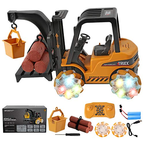 Remote Control Car, 1:18 Scale RC Trucks Forklift Toy with Music and Light, 2.4GHz 21 Channel Programming Electric Construction Vehicle Toys with Rechargeable Battery, Kids Boys Girls Toddlers Gift