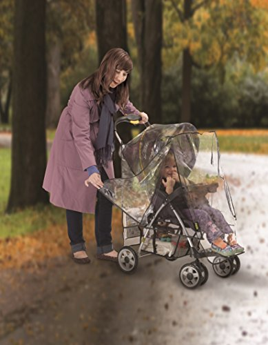 Jeep J90106 Rain Cover for Pushchair with Pouch Jeep Accommodates most stroller makes and models Helps protect child from rain, snow, wind and cold weather Netting on both sides, with snap closures, provides plenty of ventilation 3