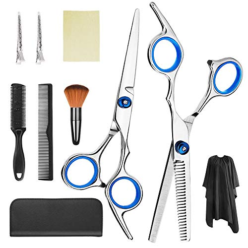 Hair Cutting Kit 9 Pcs Phelomheo Professional Barber Shears, Complete Accessories Include Thinning Shears, Hair shears, Hair comb, Cape, Neck Duster Brush, Clip, Clean Cloth