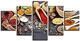 bnkrtopsu 5 Cuadro en Lienzo 5 Fotos Juntas en una Sala de Estar Dormitorio Creativo murales Decorativos y Carteles(Sin Marco) Cuchara de arroz glutinoso con Pimienta