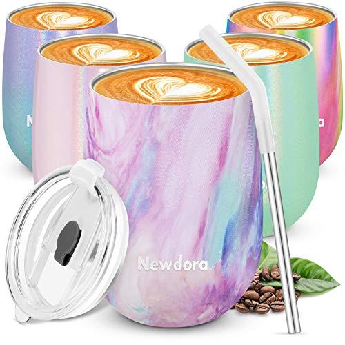 Newdora Termos caffè, Tazza da caffè in Acciaio Inox 360ml, Borraccia Termica con Una Spazzola per la Pulizia, Tazza da Viaggio per Bambini, Scuola, Sport (Colore di Arcobaleno)