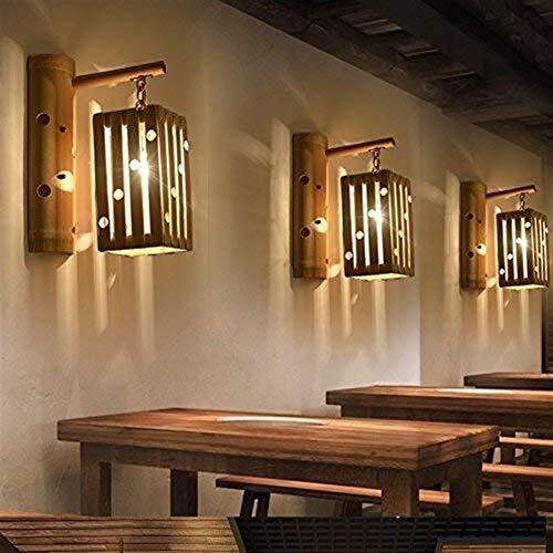 CAIJINJIN Lámpara de pared Lámparas de pared, lámpara de cabecera apliques minimalistas, Salón Dormitorio restaurante de bambú Artes Escalera Bar ilumina el camino de Estudio del Corredor Hotel Villa