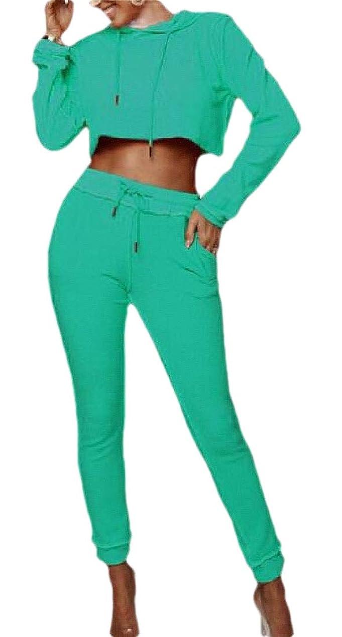 平均移植折るWomens Casual Tracksuit Long Sleeve Crop Top +Long Pants 2 Piece Outfits