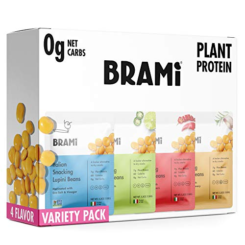 BRAMI Lupini Beans Snack, Variety Pack | 7g Plant Protein, 0g Net Carbs | Vegan, Vegetarian, Keto, Plant Based, Mediterranean Diet, Non Perishable | 5.3 Ounce (4 Count)