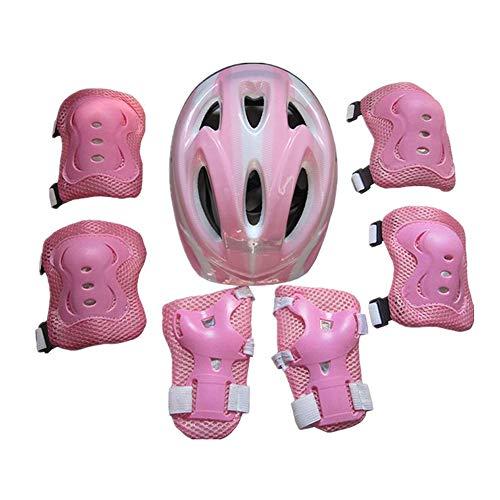 Kinder Helm Knieschoner Set Schonerset Sport Schutzausrüstung Schutzhelm Helm Ellbogenschutz Set für Radfahren Roller Inliner Skates Rollschuhlaufen Outdoor Aktivitäten 5-15 Jahre (Pink , Form a)