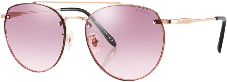 Sunglasses Ladies Metal Large Frame Comfortable Nylon Lens Driving Trend Male Sunglasses gold Frame Gradually Pink