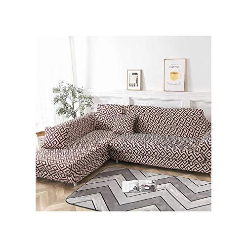 Lionel Philip Bitte bestellen 2Pieces Wenn L Shaped Corner Chaiselongue Sofa Cubre Sofa Elastic Couch Abdeckung Stretch Sofabezüge für Wohnzimmer, Muster 4,1Seater und 2-Sitzer