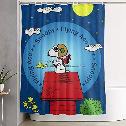 Suzanne Betty Duschvorhang Flying Ace Snoopy Kunstdruck, Polyester-Stoff, Badezimmer-Dekorationen, Kollektion mit Haken, 152,4 x 182,9 cm