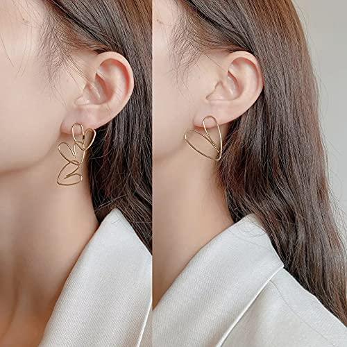 Owenqian Pendientes Colgantes geométricos con Forma de corazón de Metal Dorado para Mujer, niña, Boda, Fiesta, joyería, Accesorios