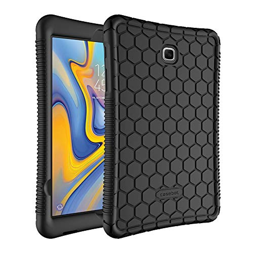 Fintie Silicone Case for Samsung Galaxy Tab A 8.0 2018 Model SM-T387 Verizon/Sprint/T-Mobile/AT&T, [Honey Comb Series] [Kids Friendly] Light Weight Shock Proof Protective Cover, Black