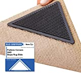 NewUgly Rug Gripper, 8 PCS Upgraded Non Slip Rug Grippers, Reusable Rug Anti Slip Tape, Carpet Corner Rug Grippers for Area Rugs, Anti Curling Carpet Tape for Hardwood/Wood Tile Laminate Floors