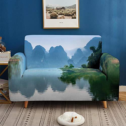 3D Imprimir Funda de Sofá Elástica Funda Sofá Gruesa Antideslizante, Cubierta Sofa Muebles con Cuerda de Fijación Antideslizante Protector de Muebles (Paisaje, 4 Plazas )
