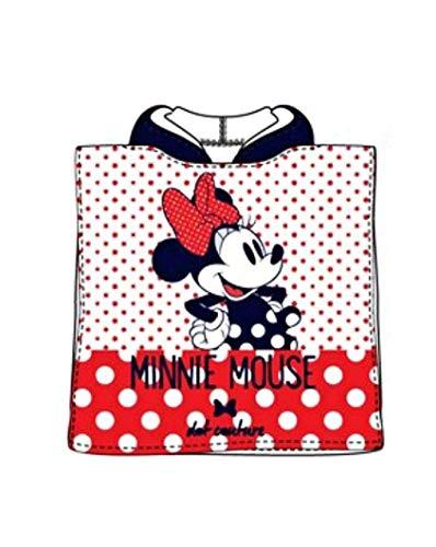 Theonoi Badetuch Bademantel Kapuzen Poncho für Kinder Baumwolle – wählbar: Paw Minnie Frozen Princess Ladybug Pony – tolles Geschenk für Mädchen, Minnie Mouse, 50x100 cm