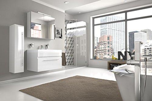 Bad11® - Badmöbelset LAZZARO 3 teilig 80 cm, Bad-Möbel Set mit Waschplatz inklusive Mineralguss-Waschbecken, exklusive Badezimmer-Ausstattung in Hochglanz weiß, Designer-Bad mit Spiegelschrank und Hochschrank