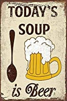 ブリキ メタル プレート サイン 2枚 Today's Soup is Beer Metal Tin Sign 12x8 インチ ホーム キッチン ベッドルーム バー サイン デコレーション