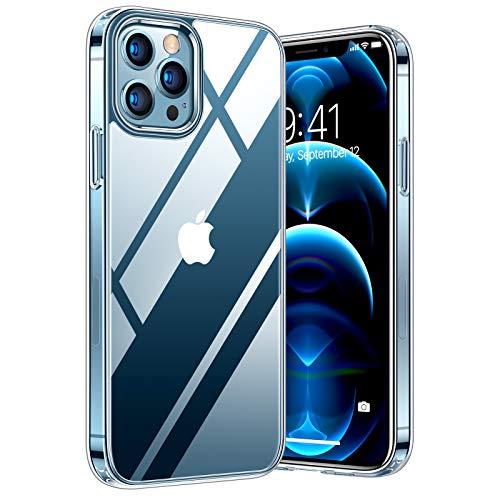TORRAS Diamond Series Kompatibel mit iPhone 12 Pro Max Hülle [Vergilbungsfrei] Durchsichtig Handyhülle Hard PC Back und Soft Silikon Bumper Schutzhülle Case - Transparent