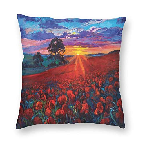 ZUL 3D Print Throw Pillow Covers,Scenery Of Poppy Flower Garden On Valley With Horizon Fairy Clouds At Sunset Paint,Decorative Square Cushion Covers Case for Sofa Couch Home Decor