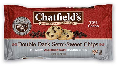 Chatfield's Allergen Safe Double Dark Chocolate Semi-Sweet Baking Chips, 10 oz. Bags, Case of 12 (3748)