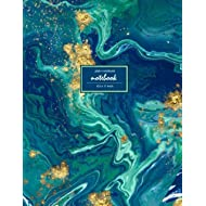 Notebook: Unruled/Unlined/Plain Notebook - (8.5 x 11 inches) Large - 110 Pages - Gold and Blue...