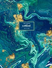 Notebook: Unruled/Unlined/Plain Notebook - (8.5 x 11 inches) Large - 110 Pages - Gold and Blue Marble