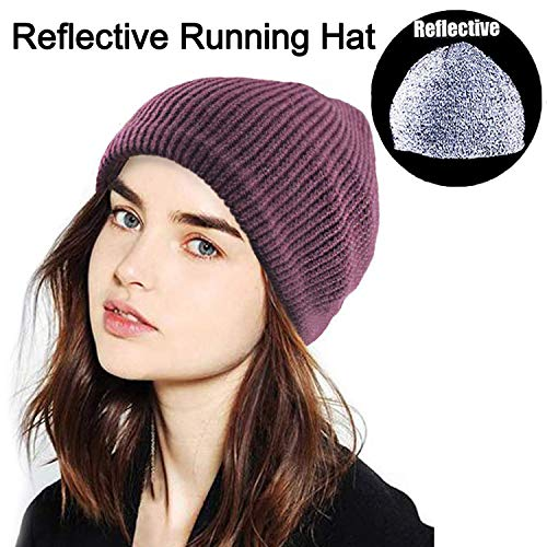 Oeyliz Reflective Hat for Men Running Hat Men Women Reflective Gear for Night Running Beanie Reflective Hat High Visibility Safety Great for Jogging Sports and Outdoors Unisex Adult Wine Red