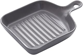BESTOMZ Square Cast Iron Grill Pan Non Stick Griddle Pan with Short Handle (Grey)