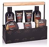BRUBAKER Cosmetics Spa Sport Musk 8 tlg. Pflegeset für Männer mit Duschgel, Schaumbad, Gesichtscreme, Peeling, Gesichts- und Körperlotion, Seife + Waschlappen in Werkzeugkasten
