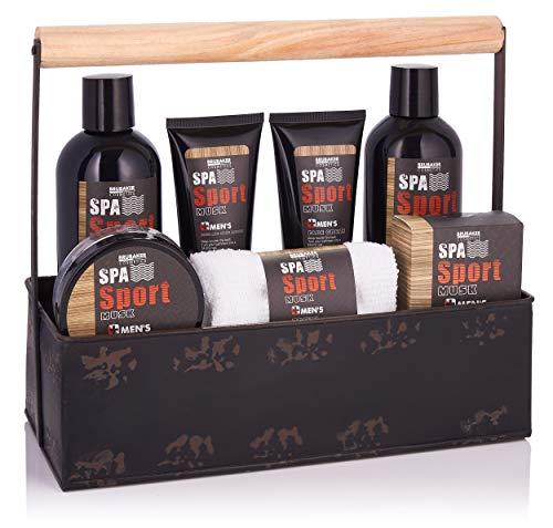 BRUBAKER Cosmetics - Coffret de bain & douche - Men's Spa Sport/Musc - 8 Pièces - Soins du corps - Boîte à outils originale - Idée cadeau Homme