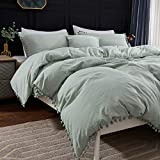 Andency Pom Pom Fringe Duvet Cover Full Size (79x90 Inch), 3 Pieces (1 Solid Sage Green Duvet Cover, 2 Pillowcases) Soft Washed Microfiber Duvet Cover Set with Zipper Closure, Corner Ties