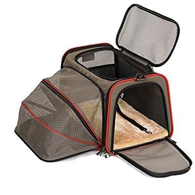 """Petsfit Airplane Cabin Travel Expandable Pet Carrier for Dog and Cat Under 15 Pounds, 18"""" x 11"""" x 11"""""""