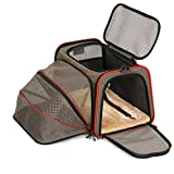 Petsfit Expandable Cat Carrier Dog Carriers,Airline Approved Soft-Sided Portable Pet Travel Washable Carrier for Kittens,Puppies,Removable Soft Plush mat and Pockets,Locking Safety Zippers