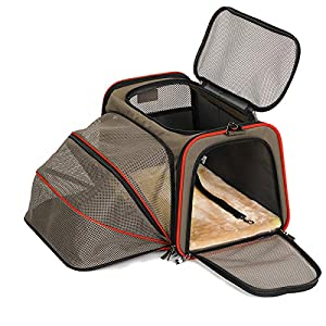 Petsfit Airplane Cabin Travel Expandable Pet Carrier for Dog and Cat Under 15 Pounds, 18″ x 11″ x 11″