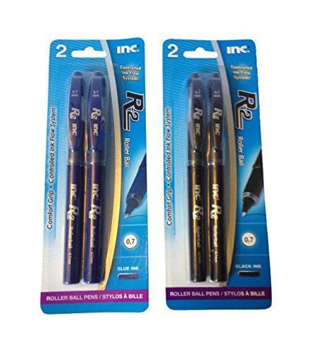 R-2 Roller Ball Pen, 2 Black Ink Plus 2 Blue Ink, Set of 4 Pens