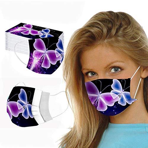 Damonday Protección 3 Capas Transpirables con Elástico para Los Oídos Pack 50 unidades Unisex Estampado de Mariposas de Moda 0729A (E 50PCS)