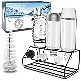 GUSUWU Porte-Bouteilles pour SodaStream, égouttoir Premium en Acier Inoxydable pour Bouteilles Soda Crystal et Emil + bac d'égouttement Amovible et Brosse (3 Bouteilles)
