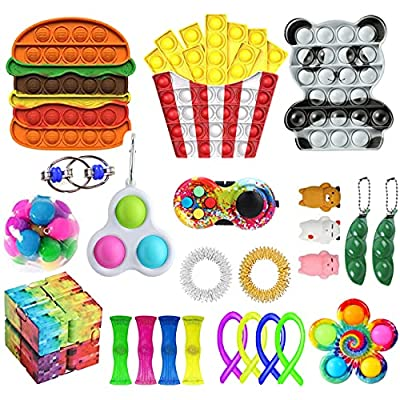24 Pack Fidget Toy Set, Stress Relief and Anxiety Reduce Fidget Toy for Kids and Adults, Food Grade Silicone Fidget Packs Novelty Sensory Fidget Toys for Birthday Party Favors (J) by Villagepageme