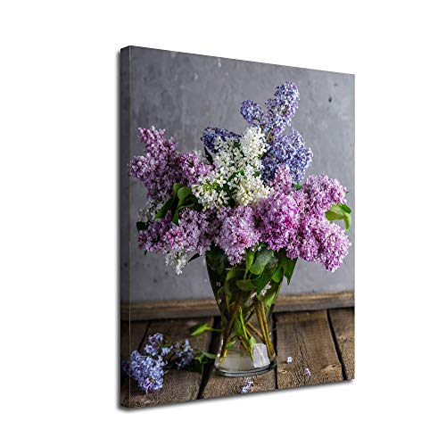 Lilac Flowers Canvas Wall Art-Inner Framed Oil Paintings Printed on Canvas Modern Artwork for Home Decorations and Easy to Hang for Living Room Bedroom-Vase,Colored Lilac bouquet Wall Art gift