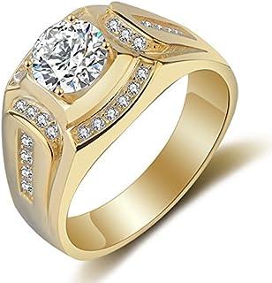 Anillo Chapado en Oro de 18 Quilates Anillo de los Hombres de Diamante de Zirconia cubica Compromiso de la Boda de los Hombres(EE.UU.8)