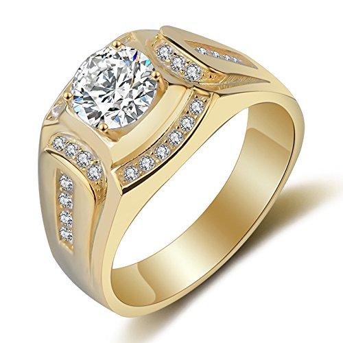 TOOGOO Anillo Chapado en Oro de 18 Quilates Anillo de los Hombres de Diamante de Zirconia cubica Compromiso de la Boda de los Hombres(EE.UU.10)